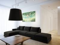 Черный диван в гостиной — пример из элегантной и стильной жизни + 82 фото