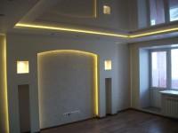 Отделка гостиной гипсокартоном — бесконечность форм и переходов для стен и потолков (110 фото + видео)