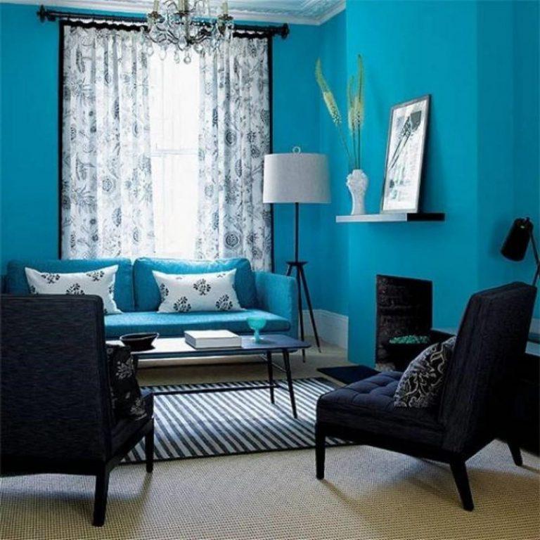 Сочетание цветов обоев в интерьере фото голубой