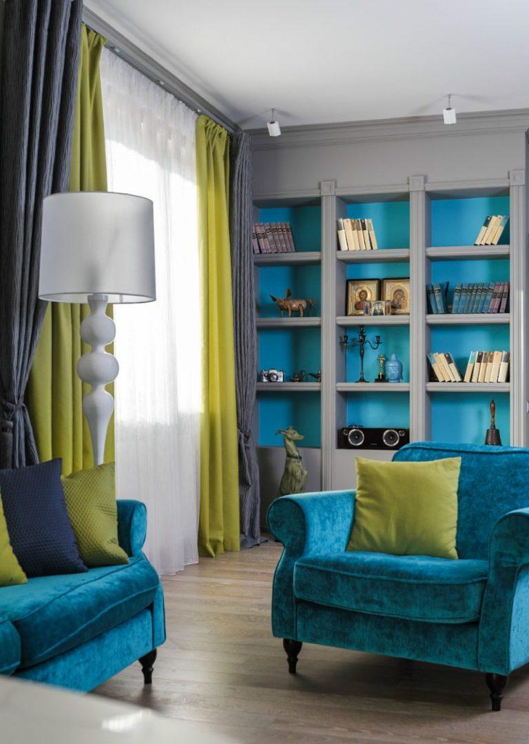 Интерьер квартиры бирюзовое с серым