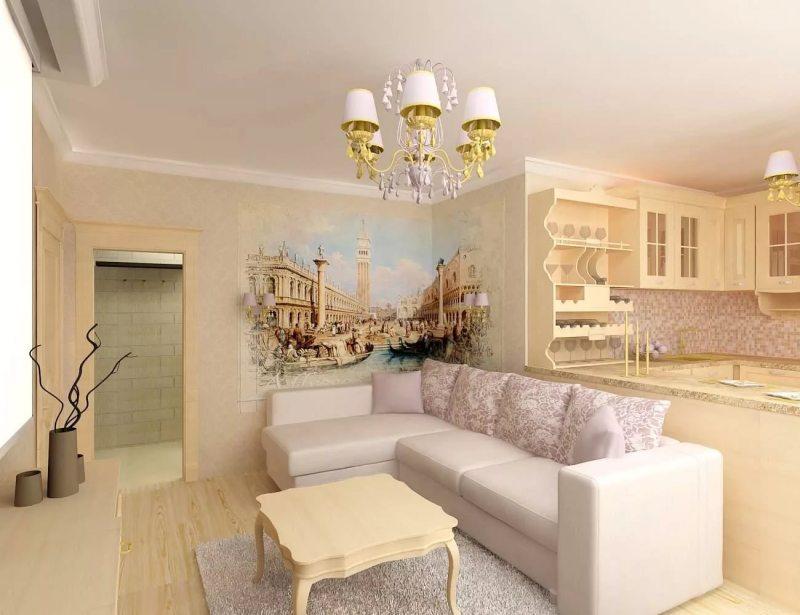 Дизайн квартиры 2017 классика с использованием фрески