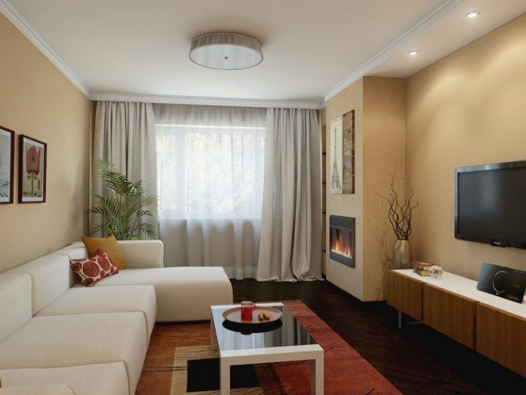 Интерьер с персиковыми обоями гостиной фото