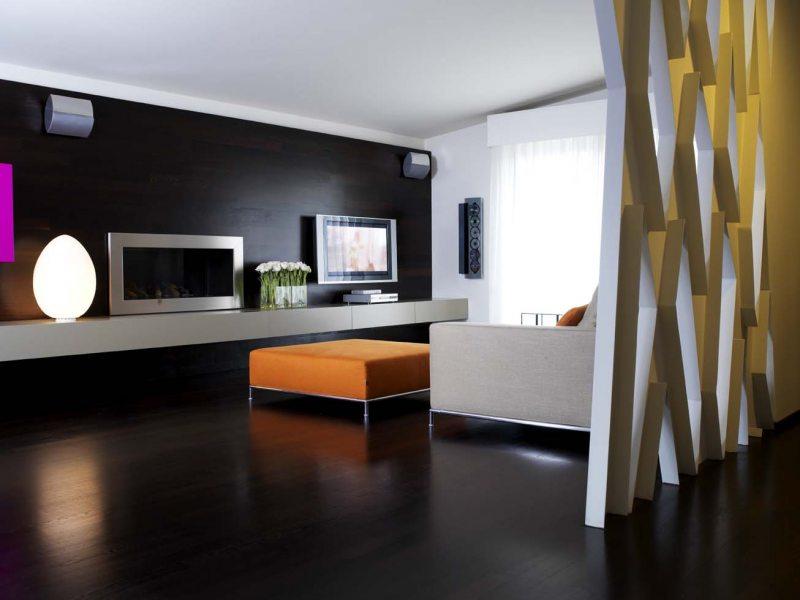 Интерьер гостиной цвет венге фото