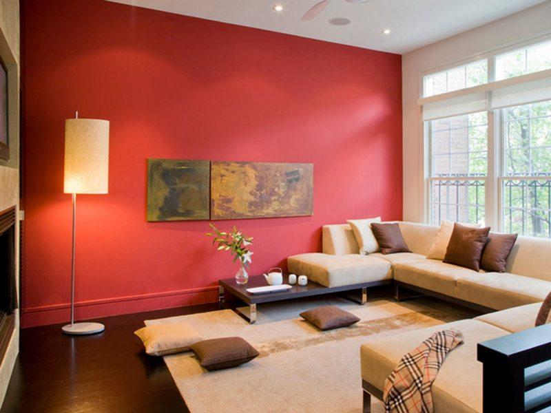 Бордовый дизайн гостиной