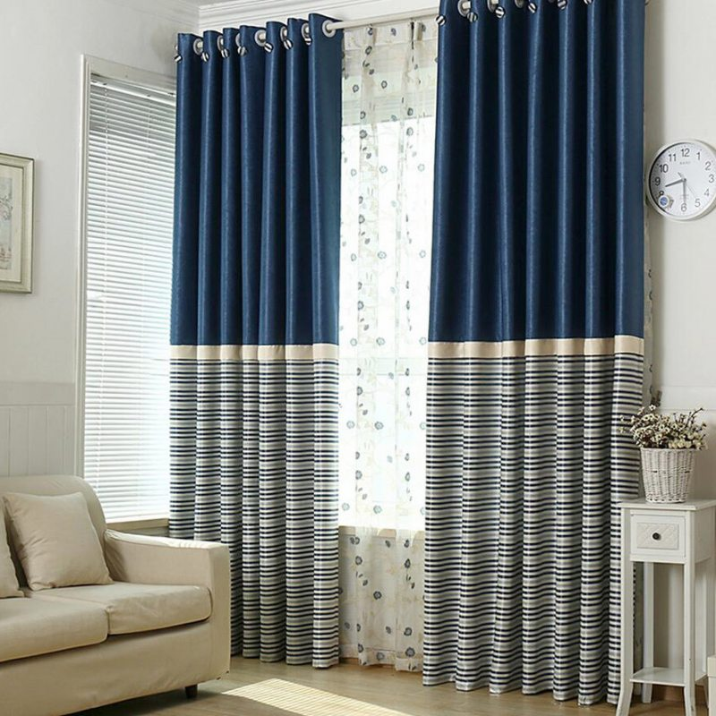 Blue horizontal striped curtains