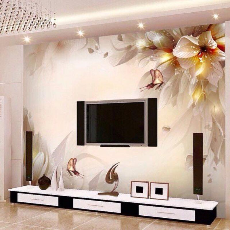 Фотообои за телевизор в гостиную фото в интерьере