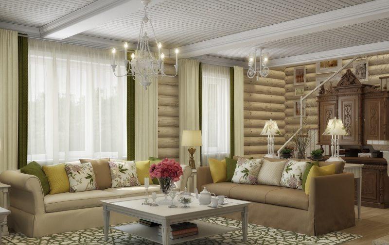 Дизайн дачной кухни-гостиной