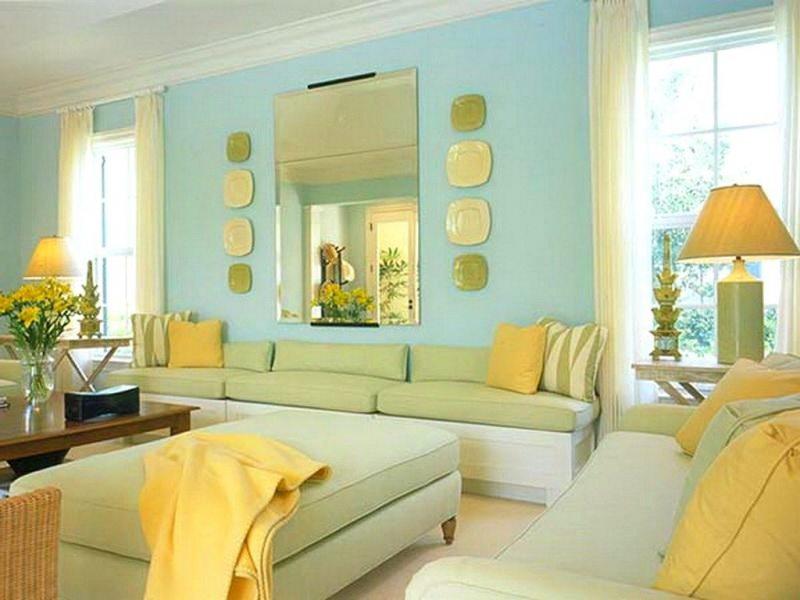 Сочетание желтого и голубого в интерьере фото